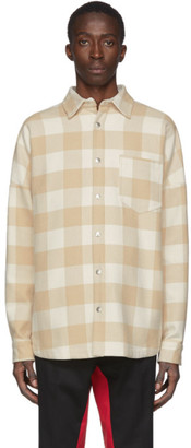 Palm Angels Off-White and Beige Checked Logo Over Shirt
