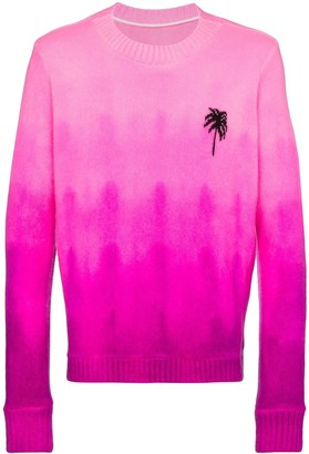 The Elder Statesman Gradient-Dyed Palm Tree-Embroidered Cashmere Jumper