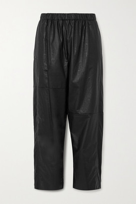 MM6 MAISON MARGIELA Cropped Faux Leather Straight-leg Pants - Black