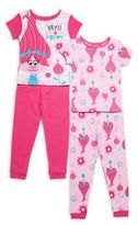 AME Sleepwear Little Girl's & Girl's Four-Piece Trolls Cotton Tee & Pants Set
