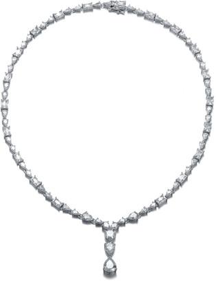 Genevive Silver Cz & Pearl Necklace