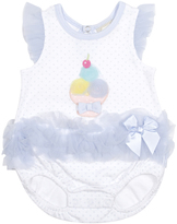 Cutie Pie Baby White & Blue Ice Cream-Appliqué Bubble Bodysuit - Infant