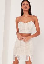 Missguided Crochet Mini Skirt White