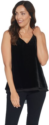 Lisa Rinna Collection Velvet Tank with Chiffon Trim
