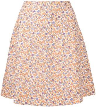 A.P.C. Floral Print A-Line Skirt