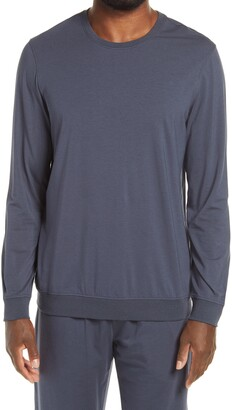 Daniel Buchler Long Sleeve Cotton Blend Sleep Shirt
