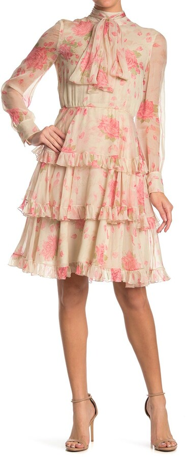 Valentino Floral Tie Mock Neck Tiered Ruffle Silk Dress