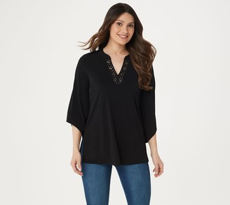 Susan Graver Artisan Liquid Knit Split-Neck Tunic
