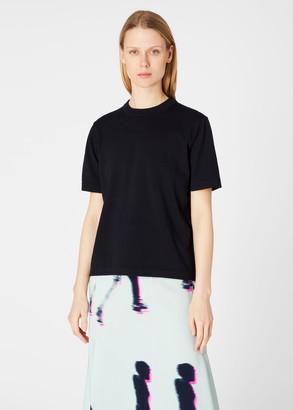 Women's Dark Navy Short-Sleeve Cotton Sweater