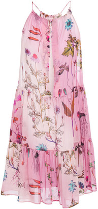 Stella McCartney Tiered Printed Cotton And Silk-blend Voile Mini Dress