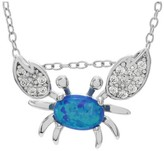 """Journee Collection 1/3 CT. T.W. Oval-cut Opal CZ Prong Set Crab Pendant Necklace in Sterling Silver - Blue (18"""")"""