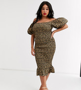 Never Fully Dressed Plus off shoulder blouson sleeve shirred midi dress in leopard print
