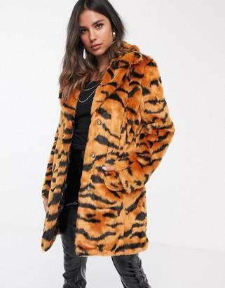 Barneys New York longline faux fur coat in tiger print