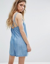 NATIVE YOUTH Denim Tencel Romper