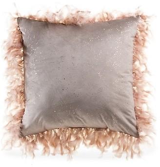 Callisto Home Rica Feather Trim Velvet Pillow