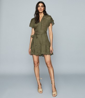 Reiss GEMINA EMBROIDERED MINI DRESS Khaki