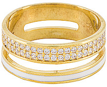 Tai Enamel Band Ring with Pave Accents