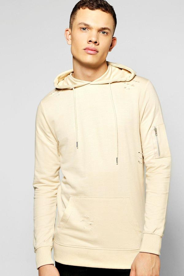 boohoo Destroyed MA1 Over The Head Hoodie sand