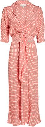 Ronny Kobo Carol Polka Dot Tie-Front Midi Dress