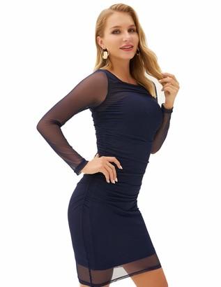 Liumilac Women Sequin Bodycon Mini Dresses/Skirts/Tops (Navy Blue Medium)
