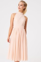 Little Mistress Charli Nude Hand Embellished Midi Dress