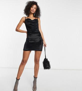 Parisian Tall velvet cami strap mini dress with cowl neck in black