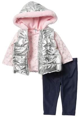 Little Me 3-Piece Faux Fur Trimmed Puffer Vest & Legging Set (Baby Girls)