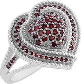 Savvy Cie Sterling Silver Pave Red Diamond Heart Split Shank Ring - 0.35 ctw