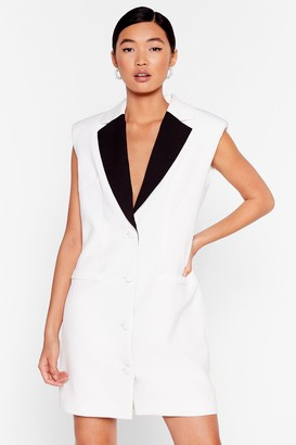 Nasty Gal Womens Leave the Contrast Behind Mini Blazer Dress - White - 4