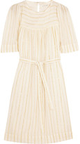 Etoile Isabel Marant Samoa Striped Cotton-blend Mini Dress - Off-white