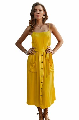 Aswinfon Womens Sleeveless Spaghetti Straps Dresses Casual A Line Midi Summer Dress Sundress (Yellow XL)