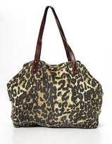 Rebecca Minkoff Brown Black Animal Print Canvas Large Tote Handbag