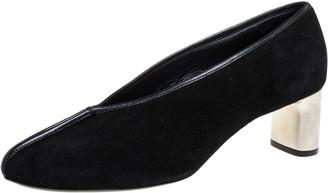 Celine Black Suede Leather V Neck Pumps Size 39