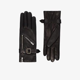 Agnelle black Barbra zip leather gloves