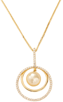 18K Yellow Gold, South Sea Pearl & 0.53 Total Ct. Diamond Circle Pendant Necklace