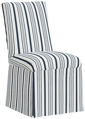 One Kings Lane Owen Slipcover Side Chair - Finn Stripe Navy