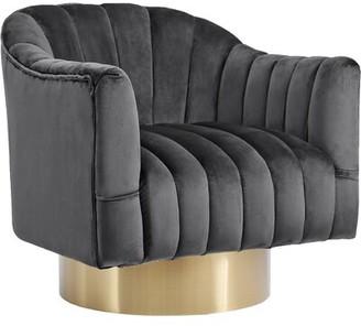Everly Quinn Bekah Swivel Barrel Chair Fabric: Gray, Leg Color: Gold