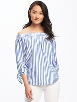 Old Navy Relaxed Off-the-Shoulder Striped Top for Women