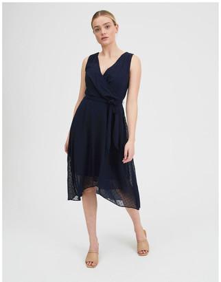 Tokito Dobby Spot Midi Wrap Dress