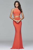 Faviana 7957 Long jersey halter dress with zipper detail