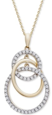 "Wrapped in Love Diamond Interlocking Circle 20"" Pendant Necklace (1/2 ct. t.w.) in 14k Gold, Created for Macy's"