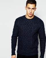 French Connection Crew Neck Cable Knit Jumper - Blue