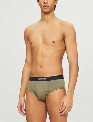 Tom Ford Logo-print slim-fit stretch-cotton briefs