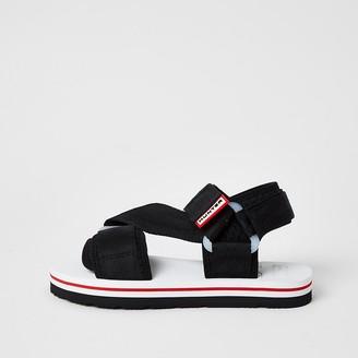 River Island Hunter Originals black velcro strappy sandals