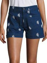 Stella McCartney High-Waist Embroidered Denim Shorts