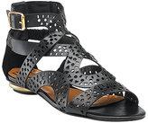 Diane von Furstenberg - Madeline - Black Perforated Leather Flat Sandal