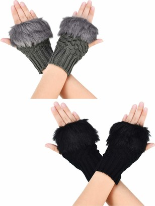 Boao 2 Pairs Fingerless Winter Gloves Short Touchscreen Gloves Thumb Hole Mittens Knitted Warm Gloves with Faux Fur (Black and Dark Gray)(Size: M)