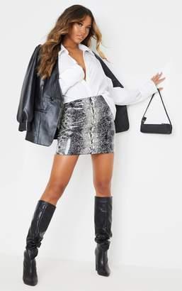 PrettyLittleThing Grey Vinyl Snake Print Mini Skirt