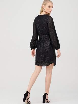 River Island Sequin Embellished Tie Waist Dress - Black