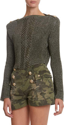 Balmain Shimmered Trumpet-Sleeve Cropped Sweater